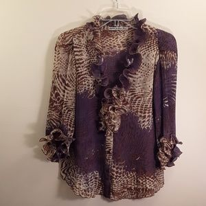 Purple, tan, and brown, ruffled blouse. Size small